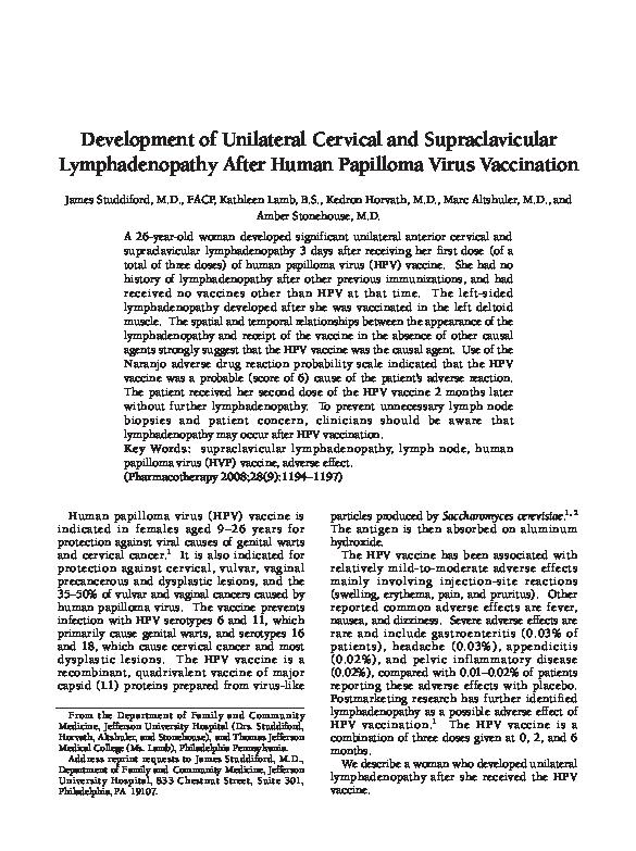 humán papillomavírus lymphadenopathia